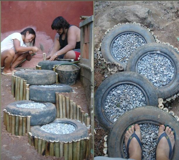 zone 1 steps made from old tires - Garden Ideas Using Old Tires
