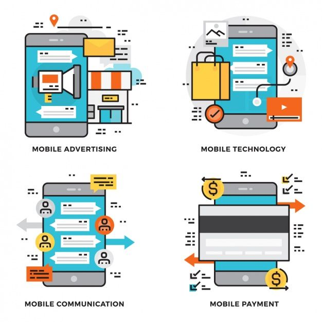 Mobile uses collection Free Vector