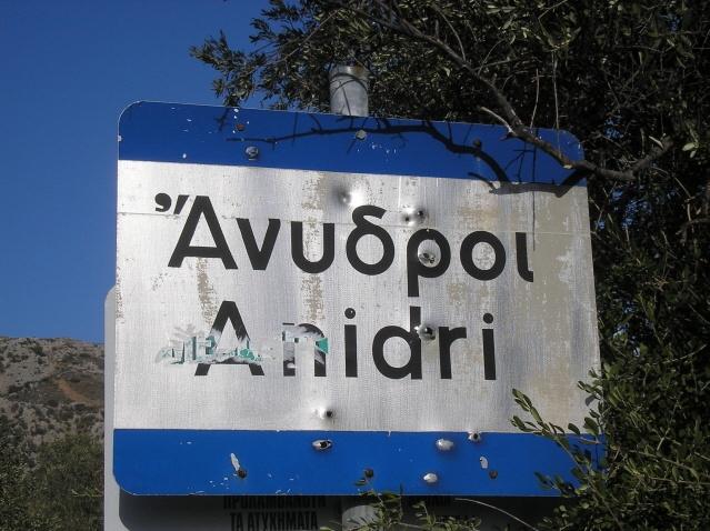 Anidri village sign. Paleochora