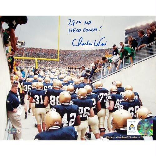 Charlie Weis Watching Team Walk out of Tunnel 8x10 with 28th ND Head Coach Insc