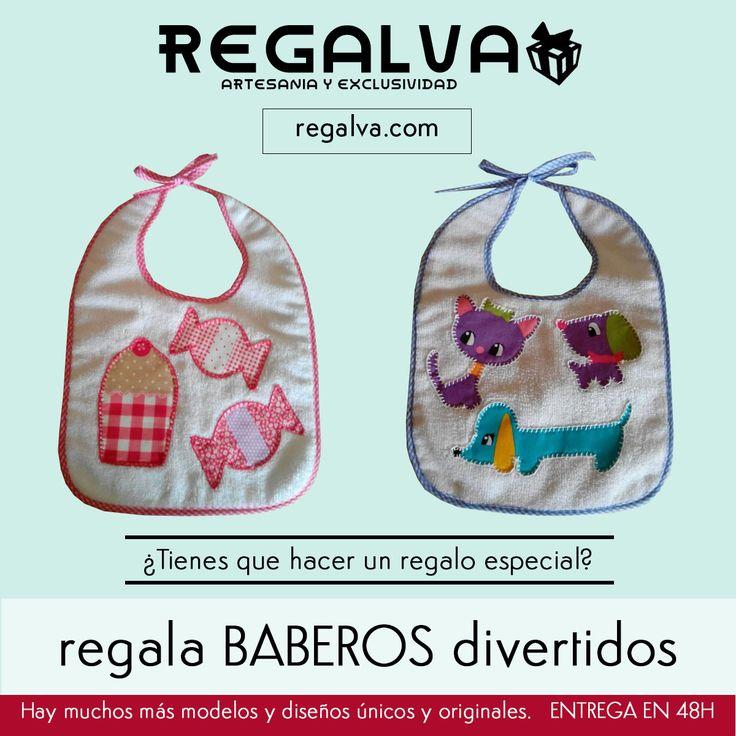 """En regalva.com te ayudamos con los regalos. ¿No sabes qué regalar al bebé que va a nacer? BABEROS divertidos, únicos y artesanales. Varios diseños a elegir. ¡NO TE RESISTIRÁS A ELLOS! Colección: """"El Susurro de las Hadas de Carmen"""" y https://regalva.com/categoria-de-producto/mundo-bebe/ #bebe #niños #niñas #mamás"""