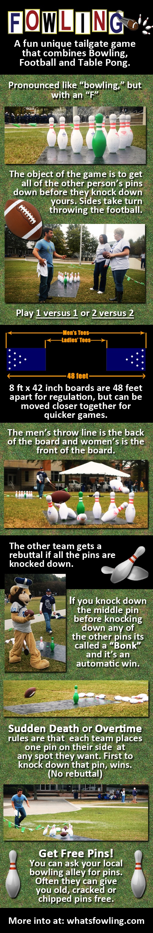 #fowling #whatsfowling Fowling is a mixture of Football and Bowling in a Horseshoes style layout. Teams of two stand at opposite ends of the lane and alternately take turns throwing a football at their opponents bowling pins. The first team to knock down all 10 pins, wins.