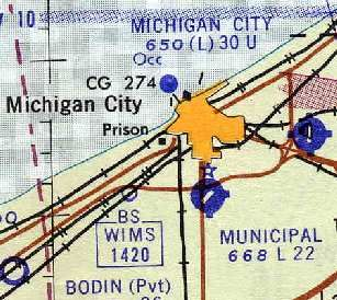 1961 regional map, showing the old MC Municipal Airport, where Meijer's and the AMC Cinemas are now
