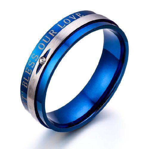 "JewelryWe Schmuck 1 Paar Edelstahl Partnerringe, ""LET' BLESS OUR LOVE"" Gravur, Freundschaftsringe Eheringe Trauringe Verlobung Ringe Band, Blau Silber"