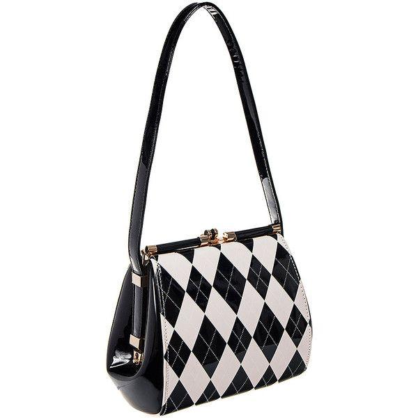 Banned Eleanor Handbag (Black/White) ($42) ❤ liked on Polyvore featuring bags, handbags, handbag purse, handbags bags, black and white purse, black white purse and white and black handbags