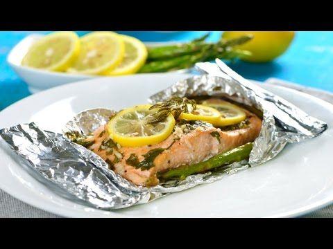 Salmón Empapelado con Espárragos | Cómo cocinar salmón saludable - YouTube