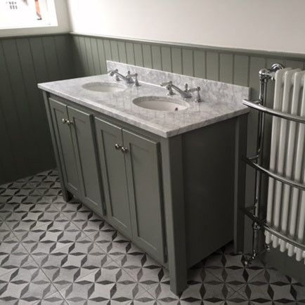 Double vanity unit with Carrara marble top