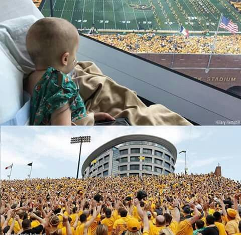 The Iowa Hawkeyes have built a hospital for children that faces the stadium. Only children in the hospital and their families are allowed in that area of the hospital during game day. After the first quarter of the game they ask the entire stadium to turn around and wave to the children. Well done Iowa.....that's incredible. Please pray for this little girl and all the kids in this hospital and around the world who are unfairly suffering! 🙏🏼  #muchrespect