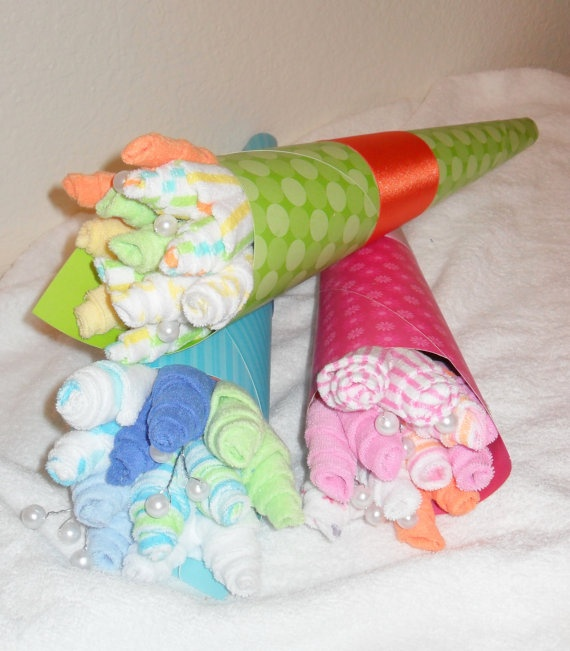 6 Piece Baby Boy Girl or Neutral Washcloth Flower Bouquet!    A beautiful flower bouquet made out of 6 soft washcloths. A perfect gift that will not wilt or die! All items in this gift are completely useable by the new mother. A creative and fun way to give a gift that will certainly be enjoyed! This bouquet would make a wonderful shower gift!        www.etsy.com/shop/care72