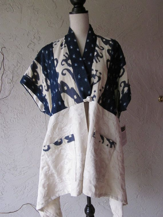 Kimono Vest With Ikat And Denim Trim by aimeelie on Etsy