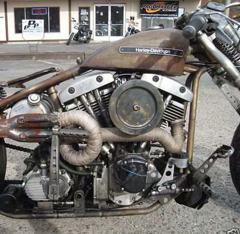 Image of 1974 Harley Shovelhead Bobber in Salt Racing style by Bent Brothers.
