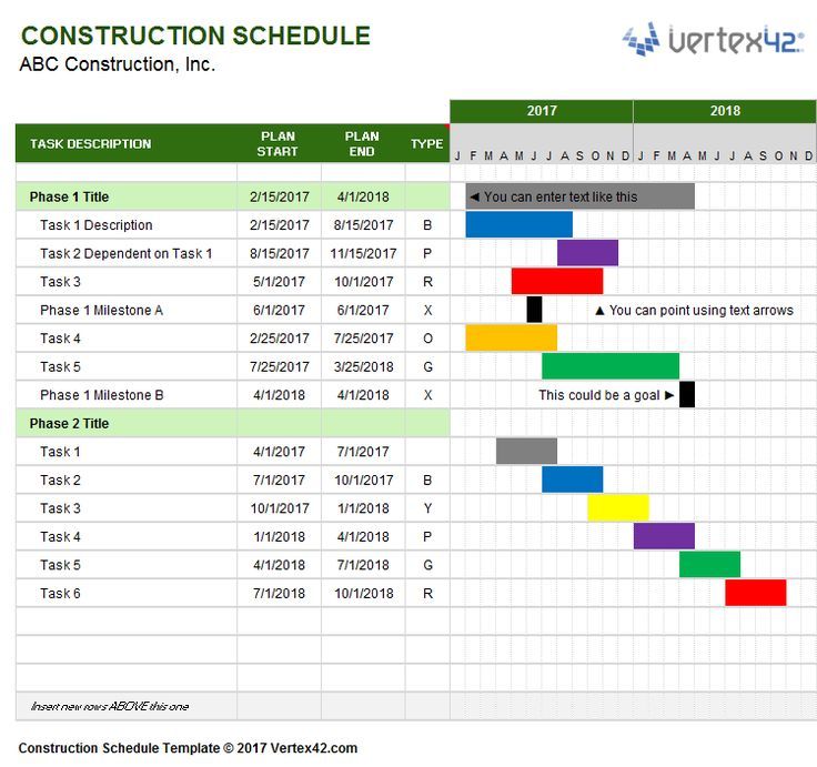 Download a free Construction Schedule Template from Vertex42 - sample construction timeline