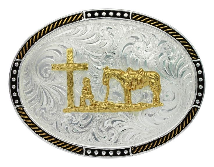 Praying Cowboy Oval Western Belt Buckle