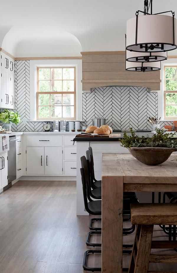 Modern Rustic Kitchen With Elongated Herringbone Subway Tile And Dark  Grout. The Mix Of White And Natural Wood Is Stunning!