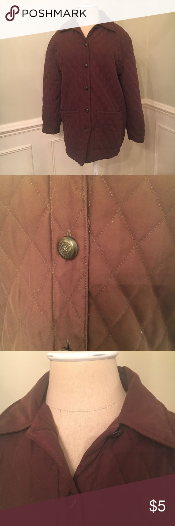 Brown jacket EUC dark brown quilted jacket Smoke free home No trades Reasonable offers are always welcome Laura Ashley Jackets & Coats
