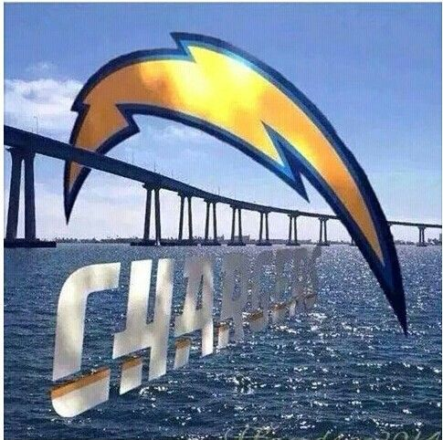 "San Diego chargers. Whoa ! That's really cool rainbow.   Okay, who's ready to charge into the depths of the ""Blue""?"