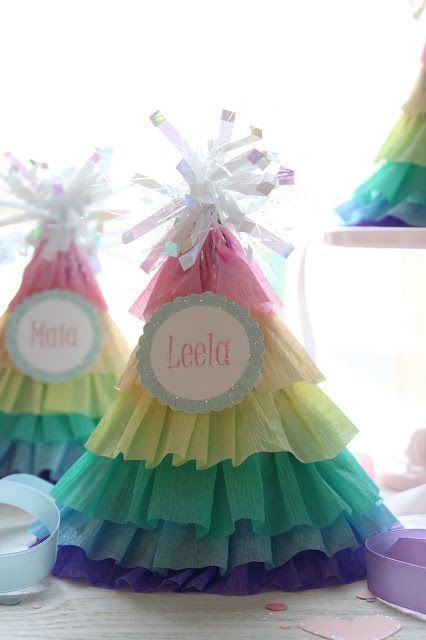 Icing Designs: DIY rainbow ruffle party hats