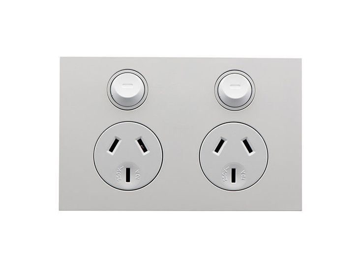 Clipsal Saturn Zen Double GPO Power Point Twin Switched Socket Z4025 White Black