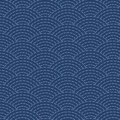 faux sashiko scallop on navy wallpaper - weavingmajor - Spoonflower
