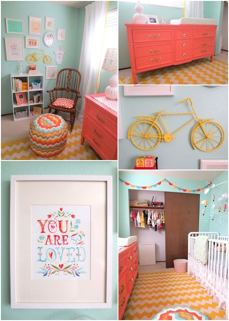 The Nursery Reveal - Aqua, Coral, and Yellow DIY Nursery (bits pieces for color addition on a more neutral palette?)