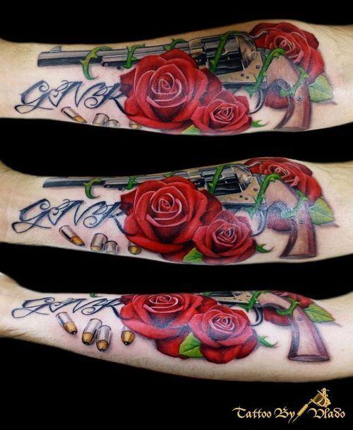 Guns And Roses Tattoo By V. Zuscik - Tattoo Rascal