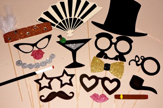 Vintage Hollywood Collection Photo Booth Prop Set por TheManicMoose