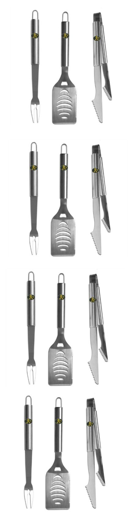 Oakland Athletics 3 pc Stainless Steel BBQ Set! Click The Image To Buy It Now or Tag Someone You Want To Buy This For. #OaklandAthletics