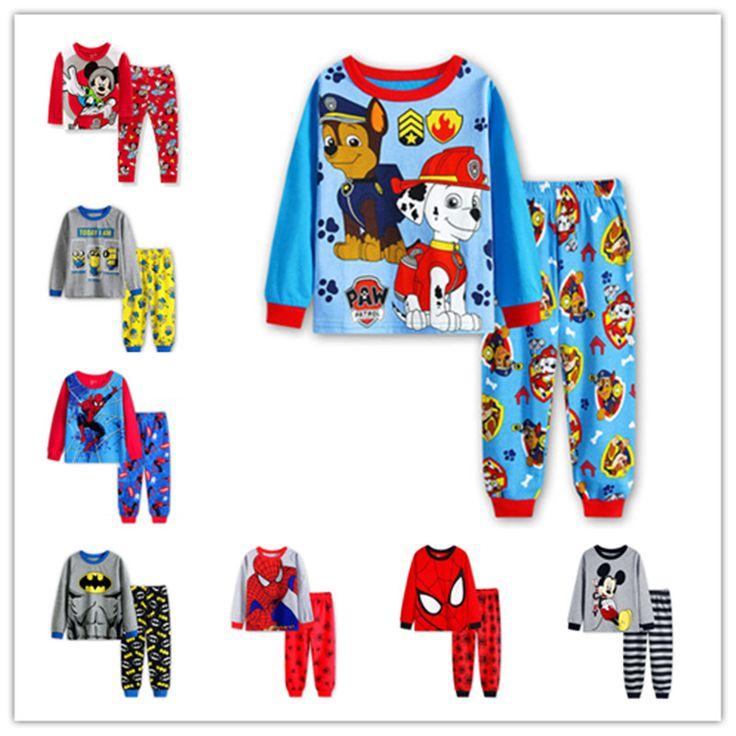 2017 Spiderman Children Pajamas kids Cartoon Pajamas For Boys Long Sleeve Pyjamas For Girls Cotton Pijamas Kids Clothes Set
