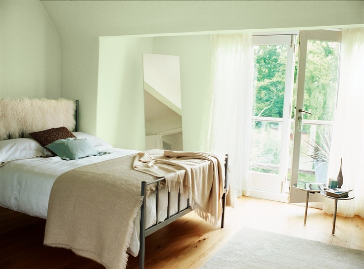 Pale green bedroom pained with Crown earthbalance emulsion in Apple Tree. 17 best ideas about Pale Green Bedrooms on Pinterest   Green