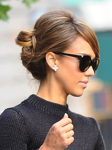 Jessica Alba matched her 60s nude lippy to a pretty backcombed updo. The side-fringe is an easy alternative to getting bangs which we all know are quite the commitment. HOW TO CREATE THE ULTIMATE BEEHIVE COSMO'S HAIRSTYLE OF THE DAY MORE CELEBRITY HAIR IDEAS