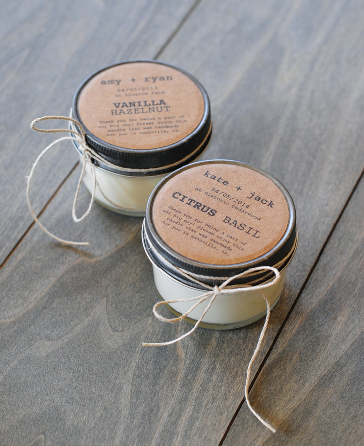 48 eco-friendly wedding favors, handmade soy candles with custom labels. $240.00, via Etsy.