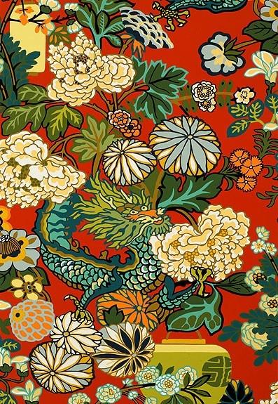 Schumacher Chiang Mai Dragon Lacquer Wallpaper