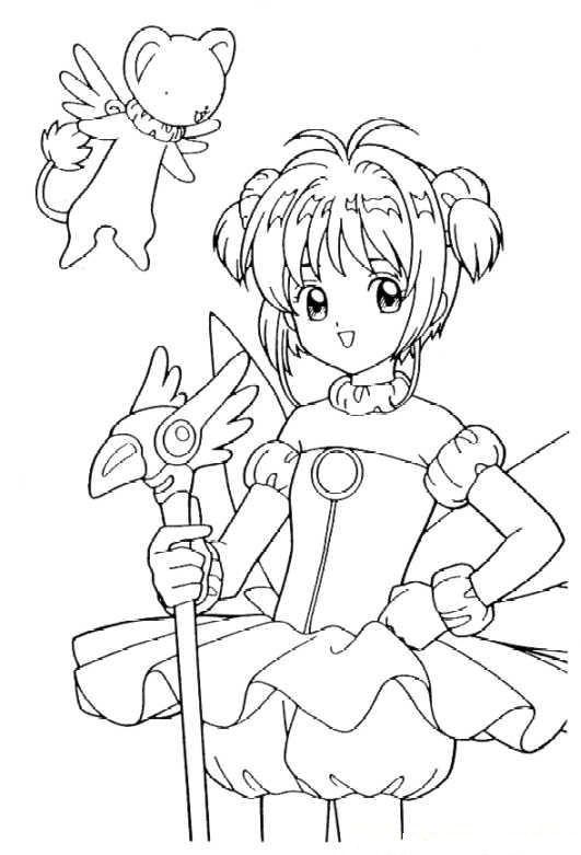 Card captors sakura posing while holding a wand coloring pagescoloring sheetscolor cardprintablewandcardcaptor sakuraxxxholicclampfigurine