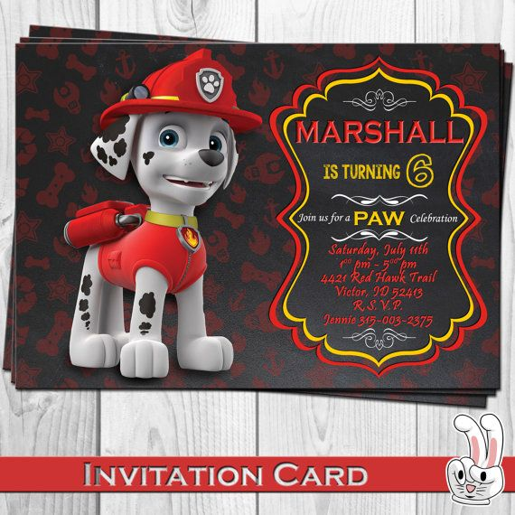 PAW Patrol Marshall Invitation Card FunnyBunnyStore Etsy