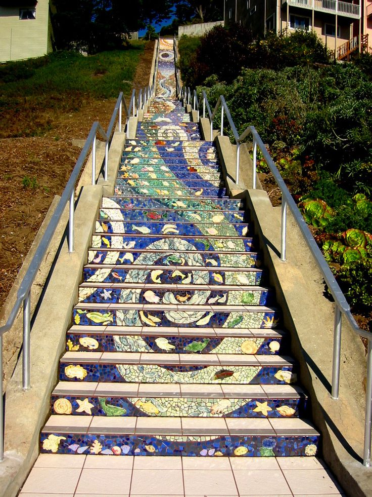 16th Ave Tiled Steps Project - San Francisco: San Francisco California, Mosaic Stairs, Stairs Risers, Staircases, Tile Step, Mosaics Stairs, Mosaics Tile, Stairways, Art Projects