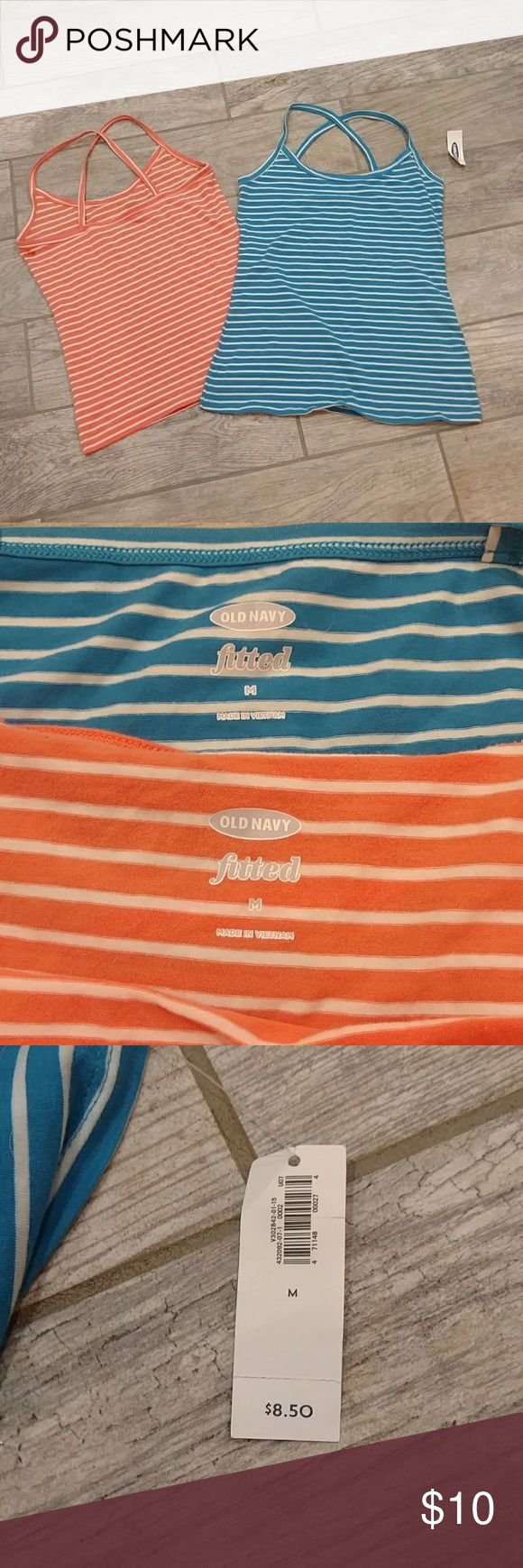 Two Striped Camis Orange and white striped and blue and white striped camis. Old navy. Orange one worn once.  Blue one never worn, tag still on. Criss cross straps. Downsizing and need to sell. REASONABLE offers considered. Thanks for looking!! Old Navy Tops