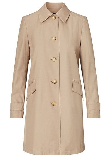 "lauren water-resistant coat by Ralph Lauren. Sleek lines and a neutral hue make this water-resistant coat a modern must-have. Size medium has a 34"" body length an..."