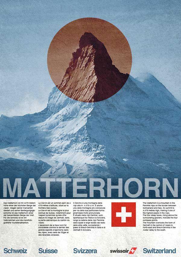 Vintage Style Swissair Travel poster