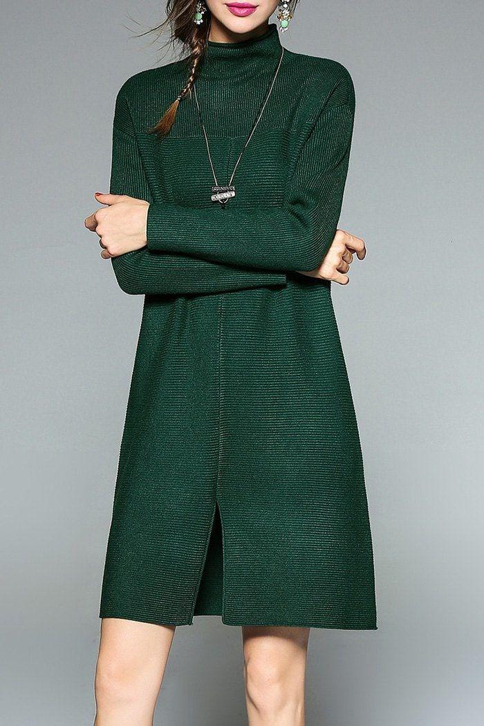 Slit Mock Neck Knit Dress - BLACKISH GREEN ONE SIZE