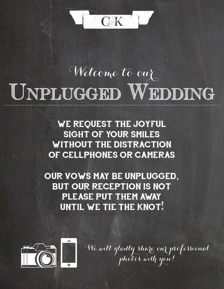 Our Unplugged Wedding sign!