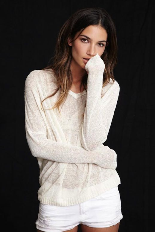 Le Fashion Blog Model Lily Aldridge for Velvet by Graham Spencer Collection Lookbook Cream Sheer Josie Sweater Shorts Wavy Highlighted Hair ...