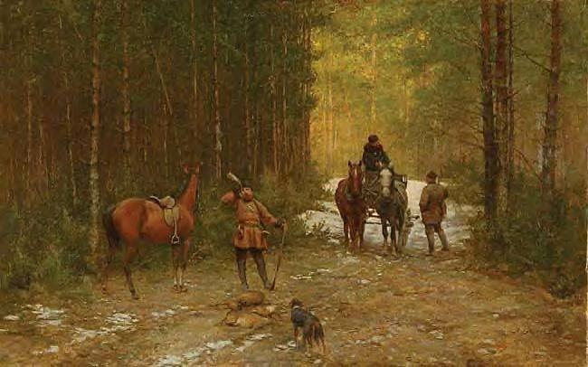 """Ryszard Okniński ((1848 - 1925)🇵🇱🎨  """"Po polowaniu"""", lata 80-te XIX w."""