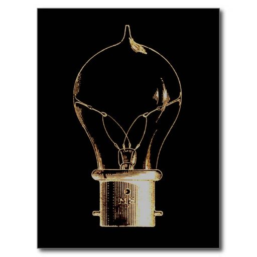 Vintage Steampunk Art Lighted Light bulb Postcard