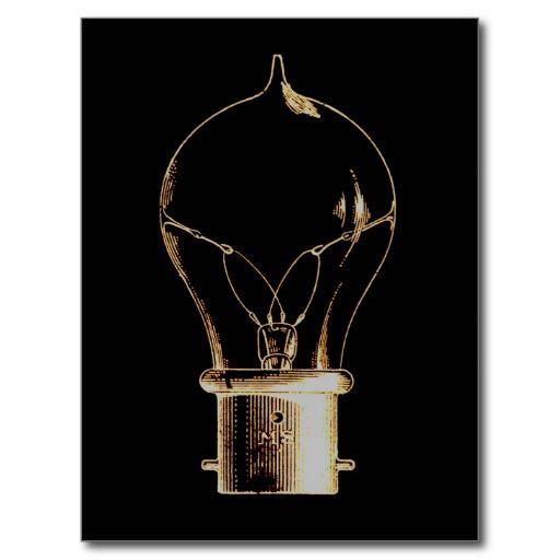 Vintage Steampunk Art Lighted Light bulb Postcard