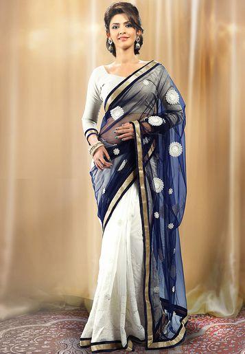 Admyrin Blue Embroidered Saree