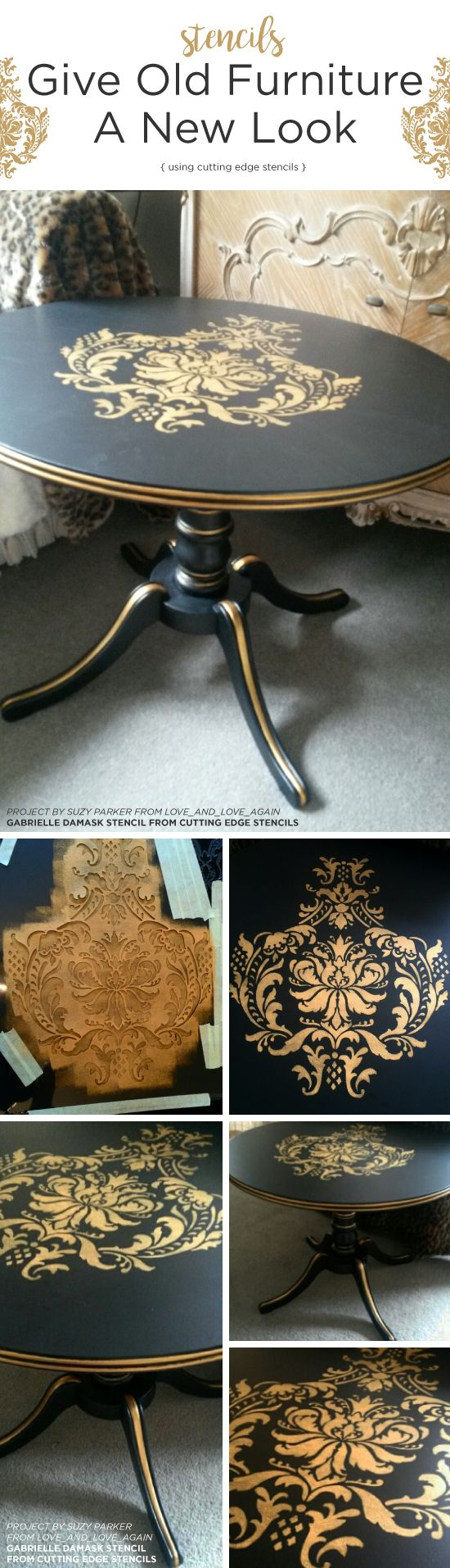 Cutting Edge Stencils shares a DIY painted and stenciled table project using the Gabrielle Damask Stencil. http://www.cuttingedgestencils.com/damask-stencil-3.html