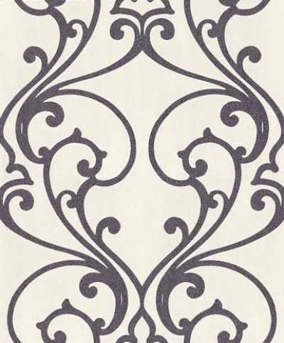 Ornate Trellis  (404647) - Albany Wallpapers - A pretty open ornate trellis design, drawn in purple covered in bright purple glitter, on an off white grainy textured background. Available in other colours. Please request sample for true colour match.