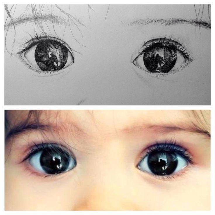 Childish pure eyes  Pencil drawing