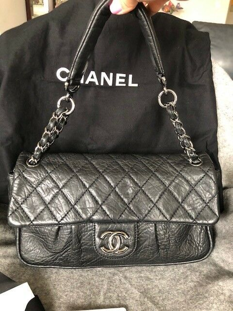 bba912e1a70701 Authentic Chanel Black Quilted Lamb Leather Lady Braid Flap Bag ...