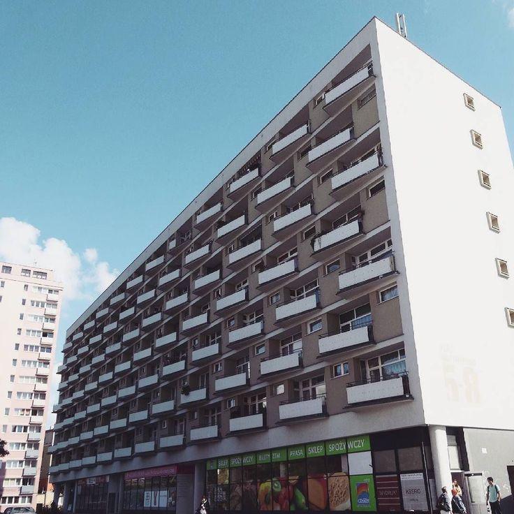 Block of flats Poznan architect: J. Węcławski J. Cieśliński Z. Waschko  #podrys #instaphoto #inspiration #city #life #street #love #balcony #beautiful #travel #happy #day #landscape #light #wall #building #urban #art #architecture #archilovers #details #design #pattern #geometry #modernism #modernizm #minimal #sun #poznan